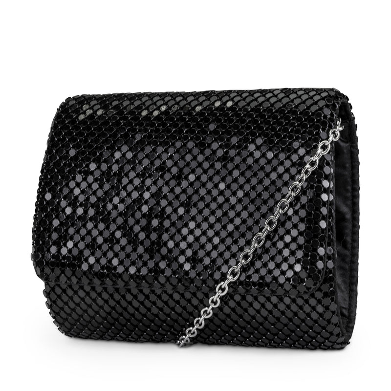 Katie Mesh Flap Evening Bag (Black)