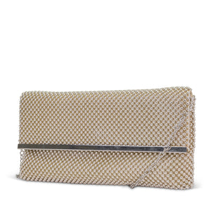 Kandi East/West Ball Mesh Clutch with Bar Treatment