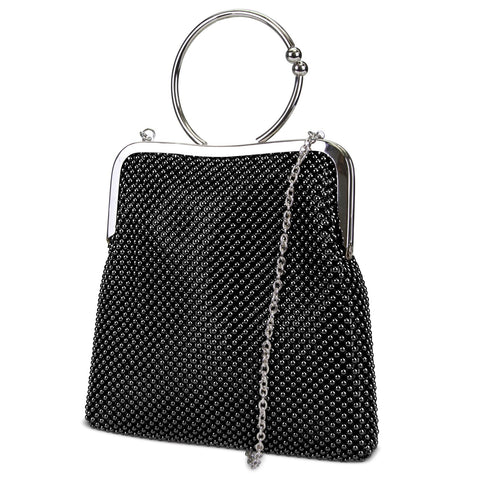 Jill Framed Mesh Pouch with Ring Handle