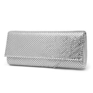 Bre East/West Sparkle Mesh Clutch