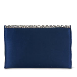 Courtney Rhinestone Large Flap Evening Clutch (Navy)