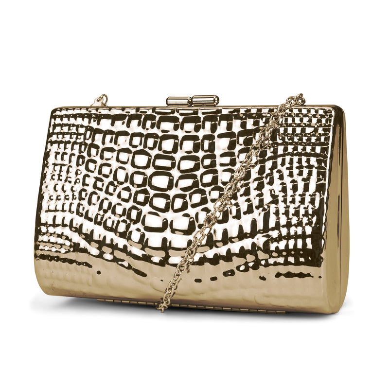 Clare Embossed Metal Croco Clutch