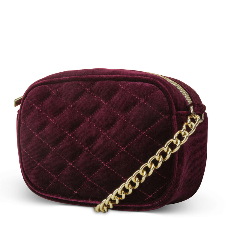 Audrey Quilted Velvet Shoulder Bag (Wine)