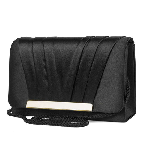 Pleated V-Flap Satin Clutch