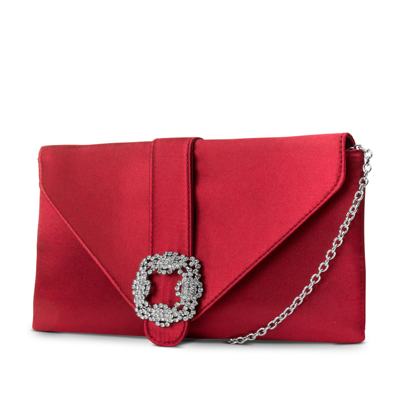 Riley Satin Envelope Clutch with Rhinestone Brooch (Red)