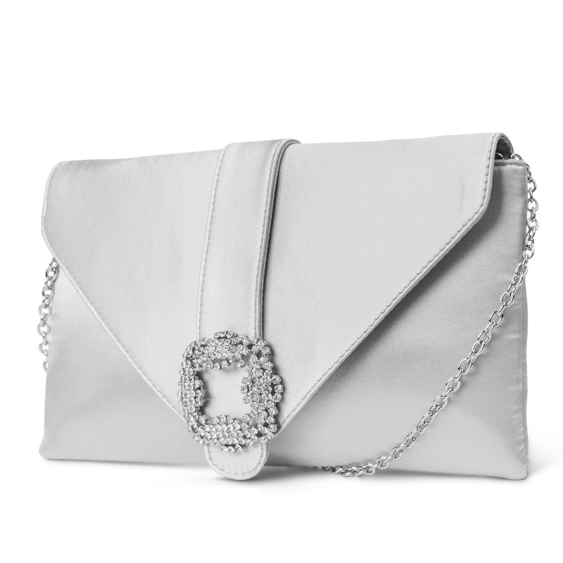 Riley Satin Envelope Clutch with Rhinestone Brooch (Silver)