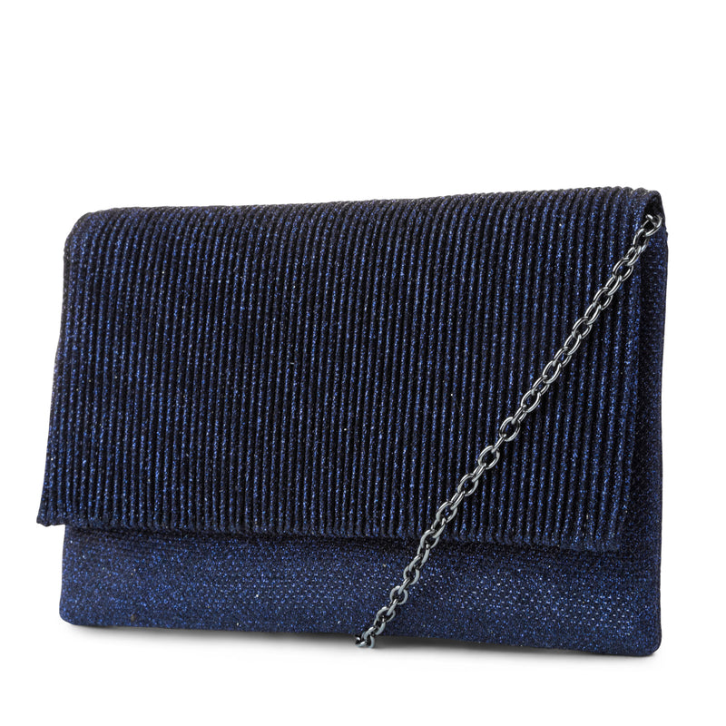 Priscilla Lurex Pleated Foldover Clutch (Navy)