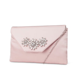 Riley Satin Envelope Evening Clutch (Blush)