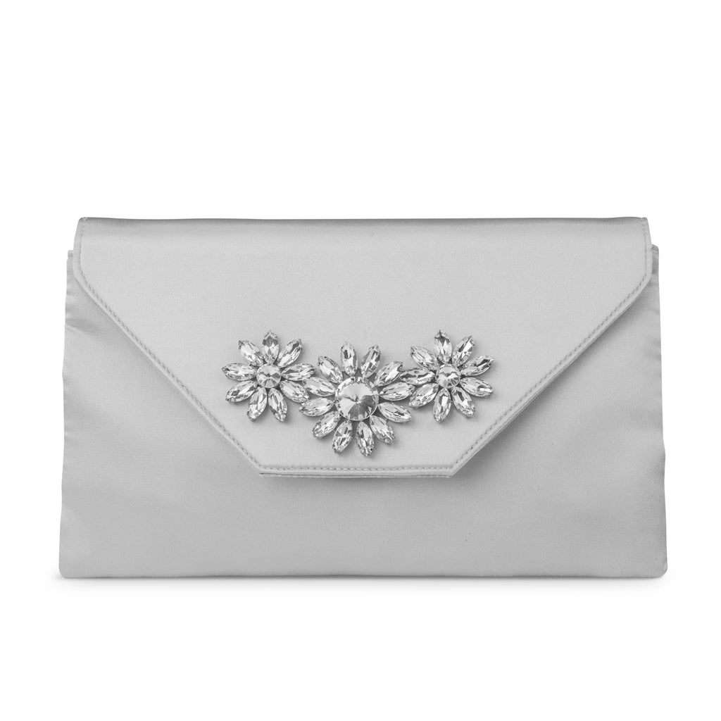 Riley Satin Envelope Evening Clutch (Silver)
