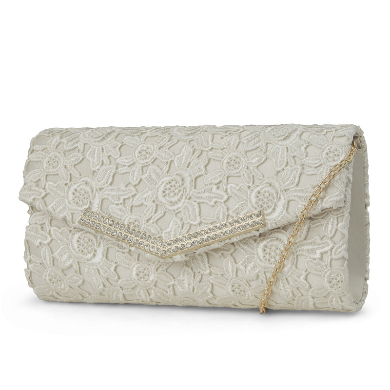 Ashley Lace Envelope Evening Clutch (Ivory)