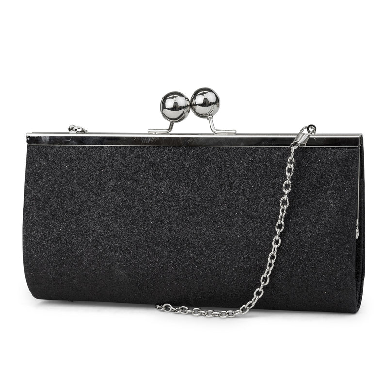 Laura Glitter Evening Clutch (Black)