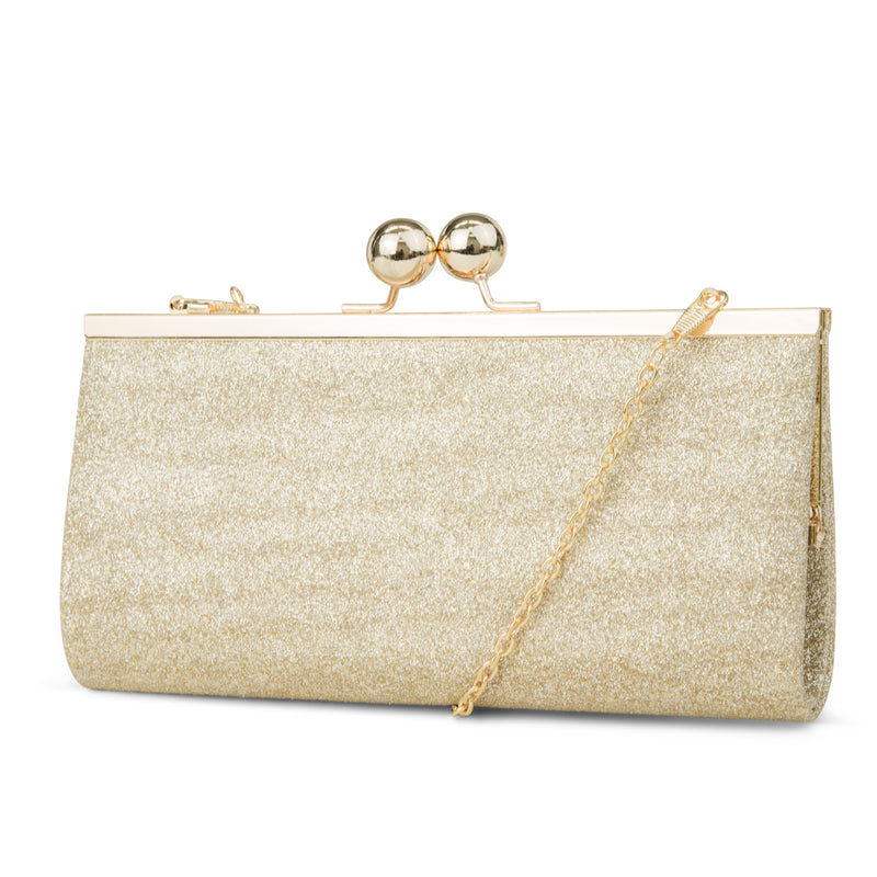 Laura Glitter Evening Clutch (Light Gold)