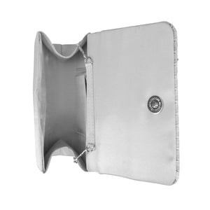 Katie Pleated Flap Evening Clutch (Silver)