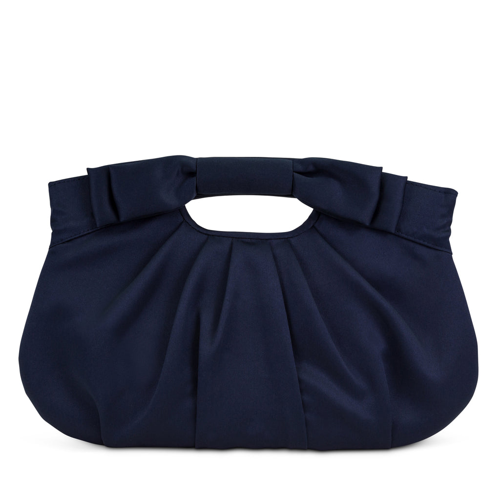 Becca Satin Ruched Clutch (Navy)