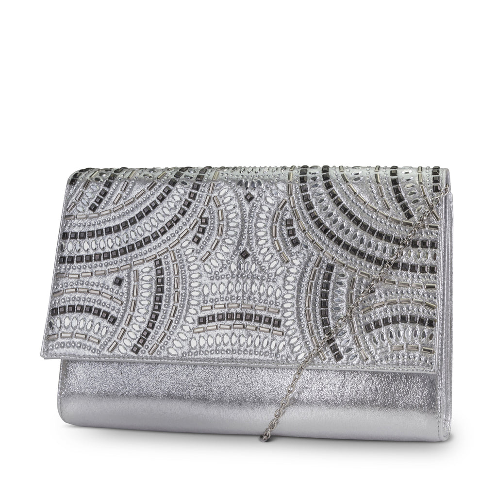 Nora Studded Sparkle and Shine Clutch (Silver)