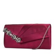 Sage Pleated Evening Clutch with Rhinestone Detail