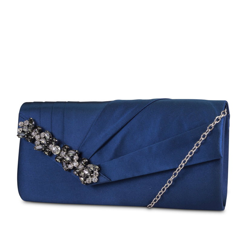 Sage East/West Satin Clutch (Navy)