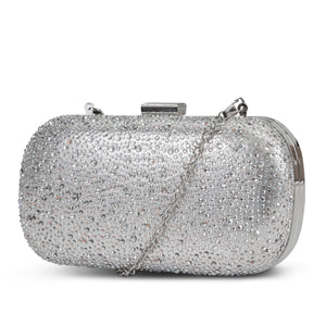 Emme Cascading Stones Minaudiere (Silver)