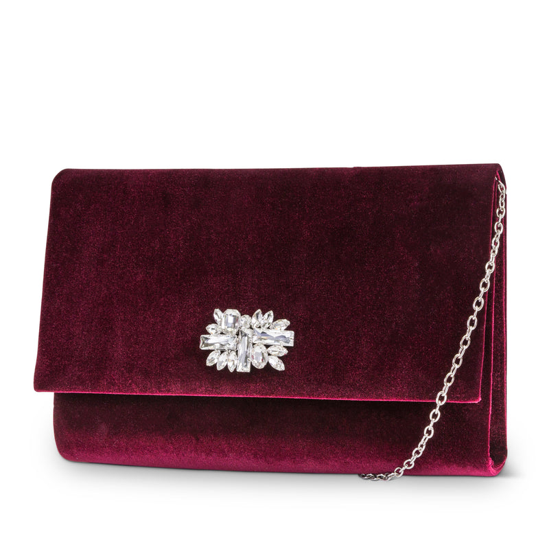 Nora Velvet Clutch with Rhinestone Brooch (Wine)