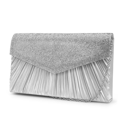 Nikki Pleated Rhinestone Flap Clutch