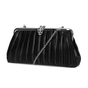Elizabeth Pleated Soft Shine Frame Clutch