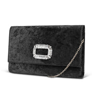 Nora Velvet Clutch with Rhinestone Brooch