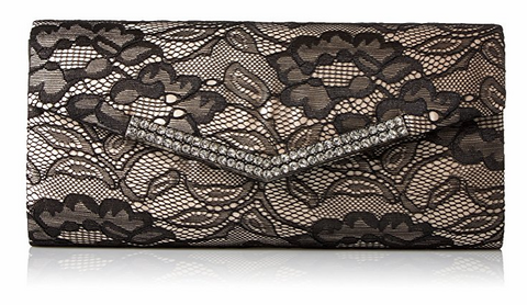 Ashley Lace Envelope Evening Clutch (Black)