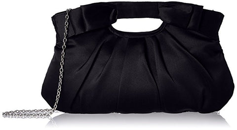 Becca Satin Ruched Clutch (Black)