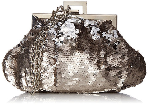 Brielle Sequin Wristlet Pouch Clutch (Pewter)