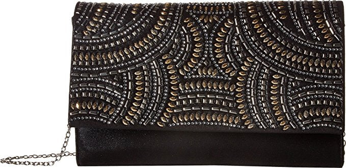 Nora Studded Sparkle and Shine Clutch (Black)