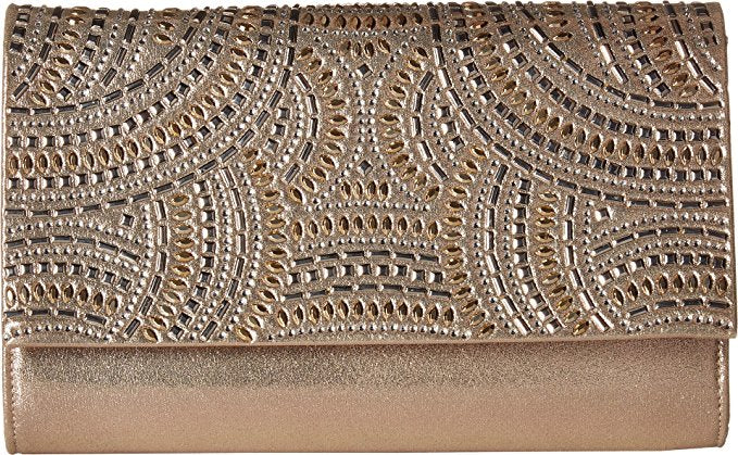 Nora Studded Sparkle and Shine Clutch (Champagne)