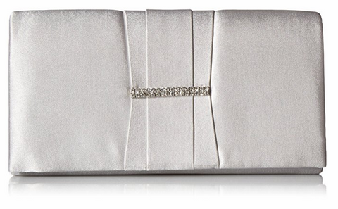 Gloria Satin Clutch (Silver)