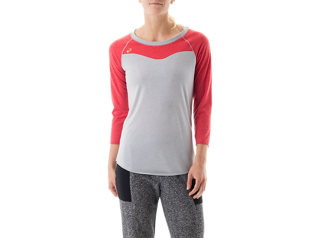 Red Women's Small Raglan Colorblock Tee Top