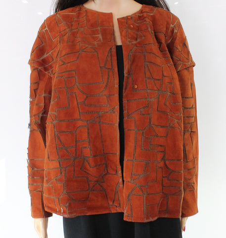 Akris Goat Suede Abstract Womens Mesh Snap-Front Jacket