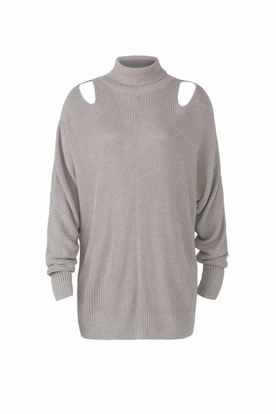 Cutout Ribbed Knit Turtleneck Mock Sweater