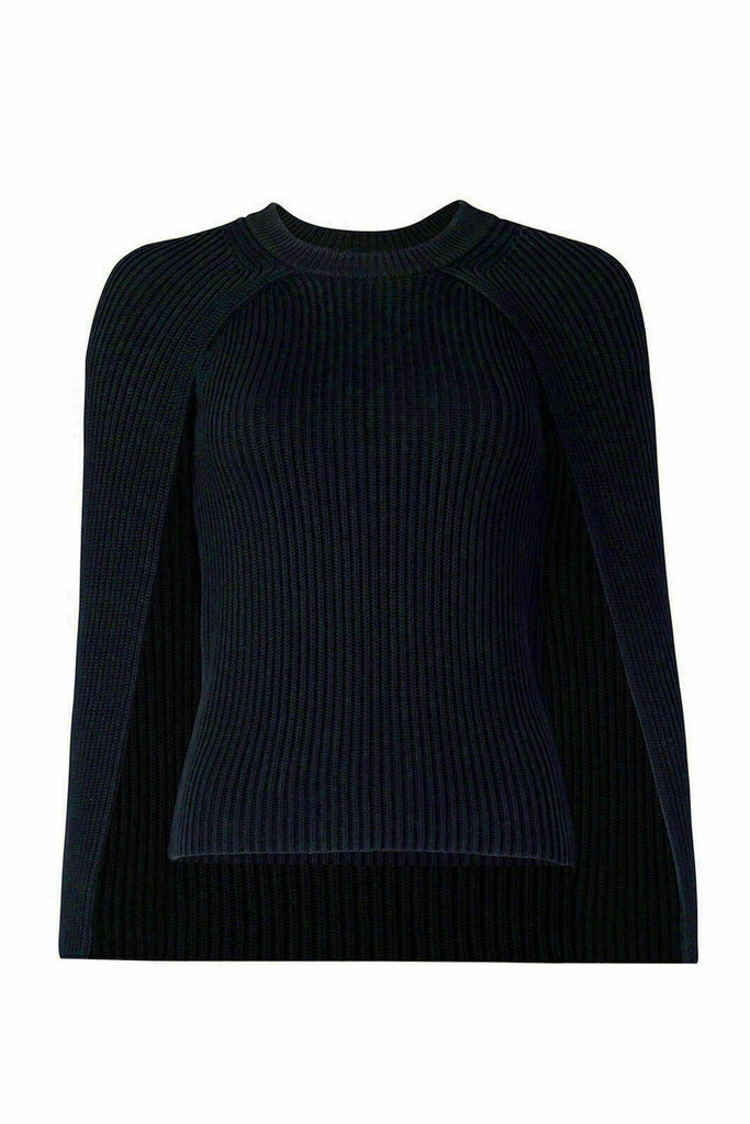 Women's Sweater Small Capelet Knitted Crewneck