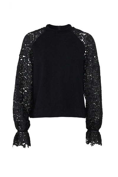 Sweatshirt Black Floral Embroidered $290-