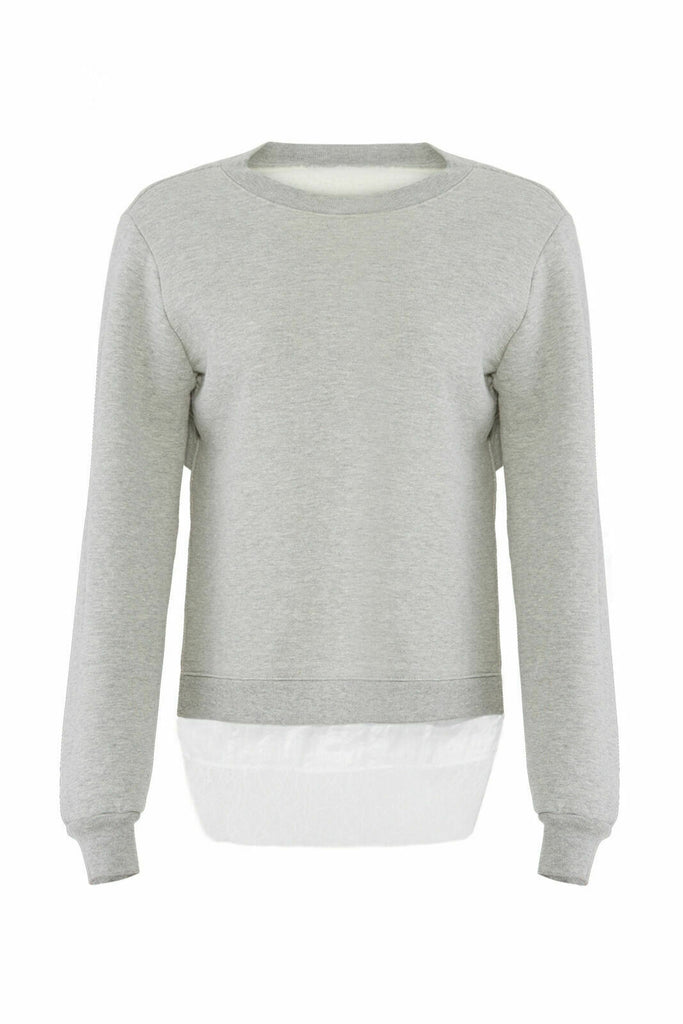 Gray Women's Sweater Small Lace Trim Layered-Look Crew-