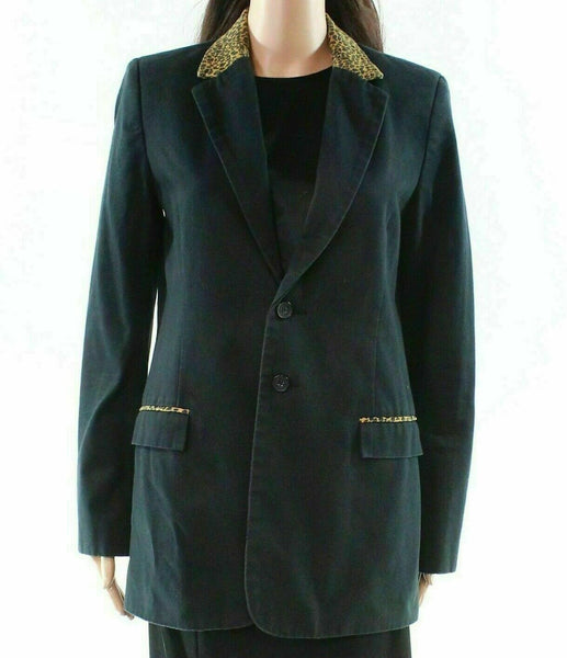 Current/Elliott Black Womens (CE 0) Leopard Trim Collar Blazer $328-