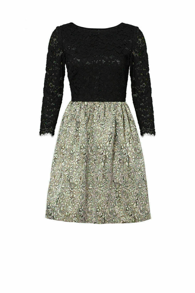 Black Jacquard Women's Dress Floral-Lace-