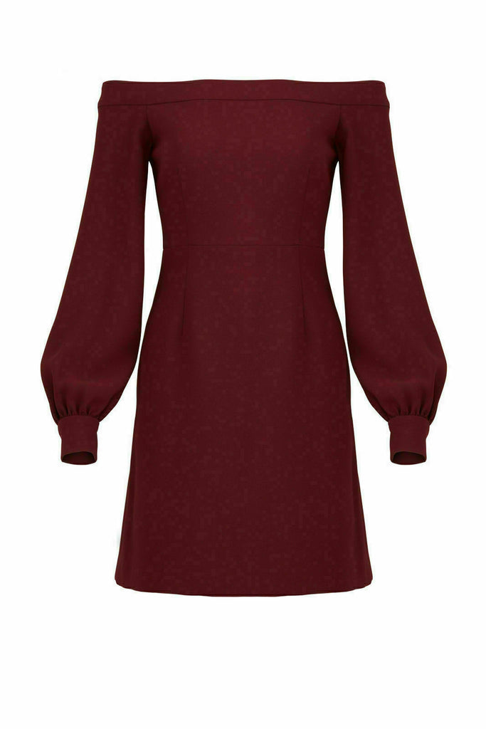 Red Women's Dress Off-Shoulder Puff-Sleeve Sheath $358-