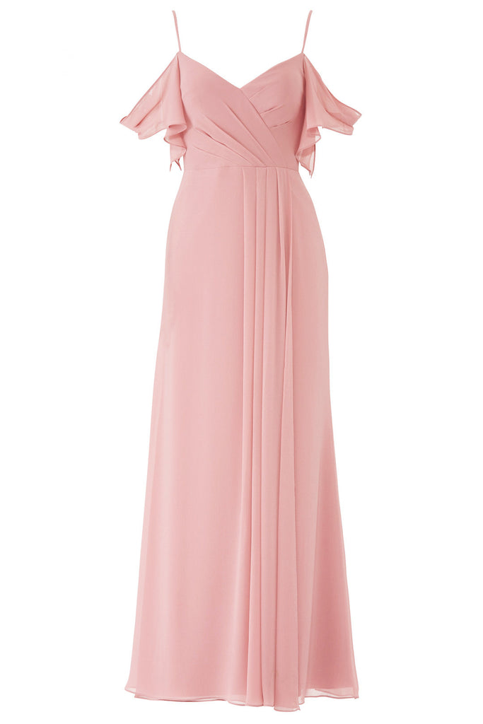 Women's Dress Pleated ColdShoulder Gown-