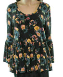 Women's Top Petite Knit BellSleeve Floral-