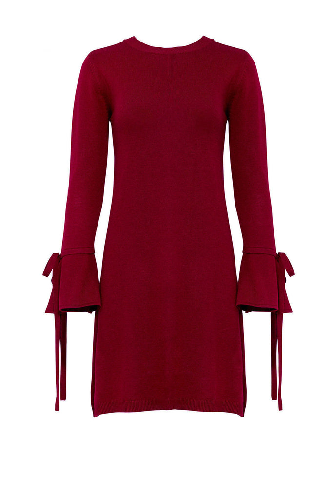 Women's Dress Shift Tie Bell Sleeve Knit