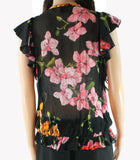 Womens Blouse US IT 42 Flutter Sleeve Floral Print