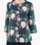 Blouse Floral Back Zip