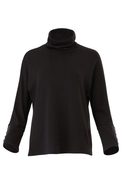 Sweater Black Medium Pyramid Stud Mock Neck Knit $156-