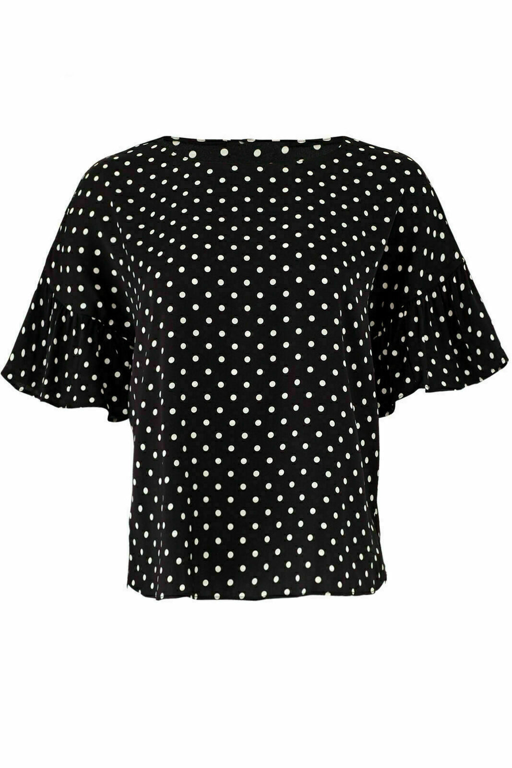 Black Blouse Small Polka Dot Ruffle-