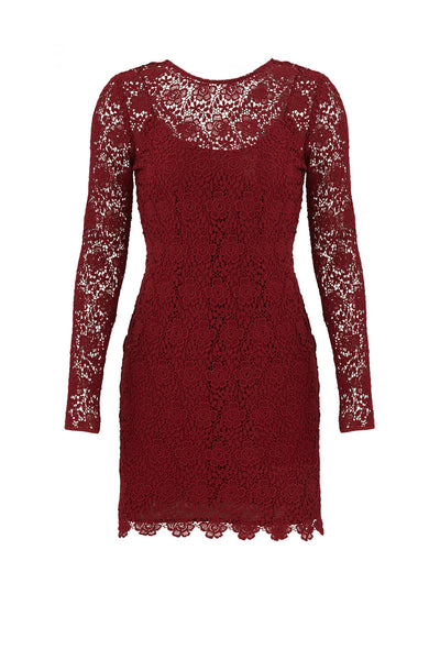 Dress Sheath Floral Lace Long Sleeve