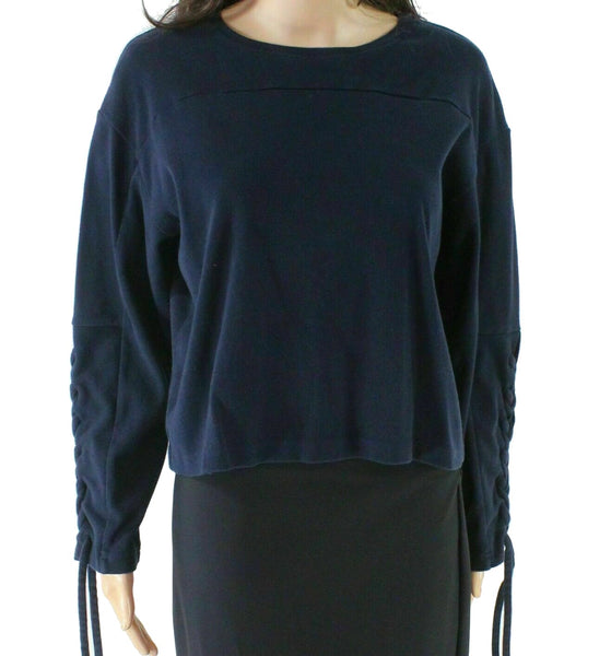 Blue Sweater Lace Up Sleeve Crewneck-
